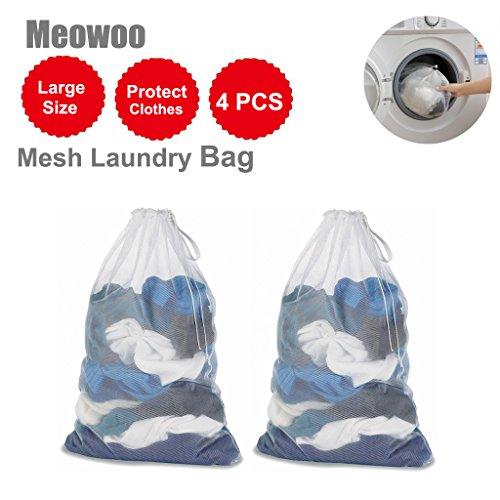 Wäschesack, Mesh Kleidung - Für Waschmaschinen - 60 x 90 cm (60 x 89,9 cm)-weiß - 4 PCS - WildAuto (Rv-tasche Faltbare)