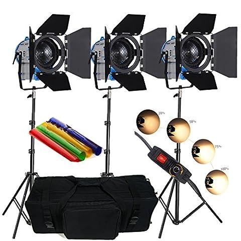 HWAMART® 3 × 300W / 500W Fresnel Tungsten Film Spotlight Lighting vidéo gradateur rembourrée sac pro