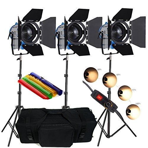 Best Saving for HWAMART® 3 × 300W/ 500W Movie Fresnel Tungsten Spotlight Lighting dimmer video padded bag pro Review