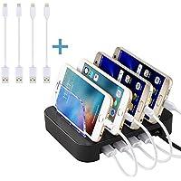 NEXGADGET abnehmbaren Multiport-USB-Universal-Ladestation Ladedock,Dockingstation,Ladegerät(4 Ports USB-Ladestation mit 4 Kabel im Lieferumfang enthalten,Weiß