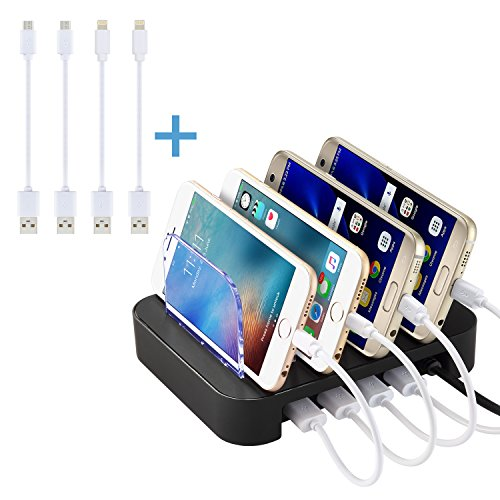 NEXGADGET abnehmbaren Multiport-USB-Universal-Ladestation Ladedock,Dockingstation,Ladegerät(4 Ports USB-Ladestation mit 4 Kabel im Lieferumfang enthalten,Weiß
