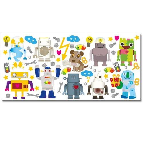 ndsticker XL Sticker Set, 54 Aufkleber, Gesamtfläche, 130 x 70 cm (Cyborg Wandtattoo)