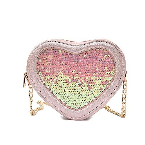 Meoaeo Borsa A Tracolla Nuova Estate Pu Zipper Spalla Tutti-Match Di Paillettes Catena Bag Argentea Pink