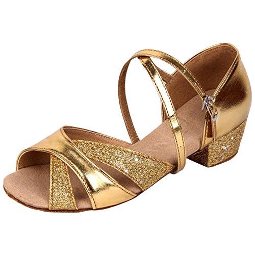 Oasap Open Toe Cross Strap Latin Dance Shoes Golden