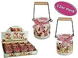 Teelichtglas Merry Christmas 12er Set - Hängewindlicht, Kerzenglas, Teelichthalter, Motivglas