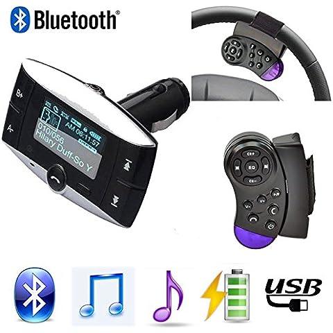 Wireless Bluetooth Transmisor FM modulador kit de coche reproductor de mp3lcd Kit de Coche Bluetooth Electronics para Som automotivo remoto reproductor de mp3teléfono manos libres coche SD/USB w/Remote Volante Bluetooth de manos libres