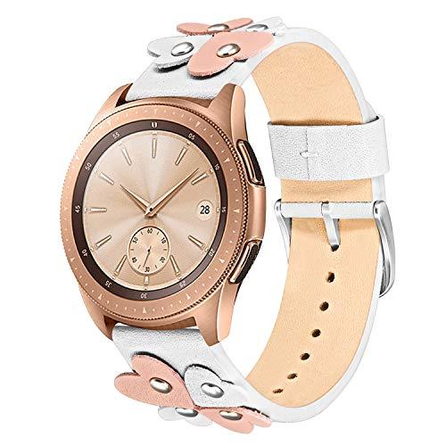 TRUMiRR Armband kompatibel für Samsung Galaxy Watch Active/Galaxy Watch 42mm, 20mm Weiches Echtes Leder Armband Einzigartiges Herz Design Frauen Uhrenarmband für Samsung Galaxy Watch 42mm (Watch Herz)