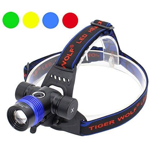 siuyiu XM-L T6LED Scheinwerfer Wasserdicht 5Farbe Licht 5Modus zoombaren Taschenlampe Bike Licht Scheinwerfer Head Light mit Akku und Ladegerät
