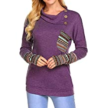 Cebbay Pull Femme Hiver Manche Longue Casual Col bénitier Mode Sweat-Shirt Chemise T-Shirt Pullover Bouton de Poches