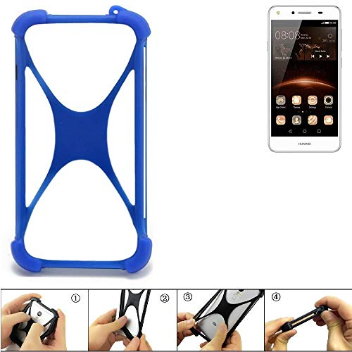 K-S-Trade Bumper für Huawei Y5 II Dual-SIM Silikon Schutz Hülle Handyhülle Silikoncase Softcase Cover Case Stoßschutz, blau (1x)