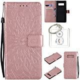 Housse Galaxy Note8 6,3 pouces, Etui en PU Cuir Portefeuille Coque pour Samsung Galaxy Note8 6,3 pouces fleurs Datura Modèle Case avec Fonction Support Stand + porte-clés(T)