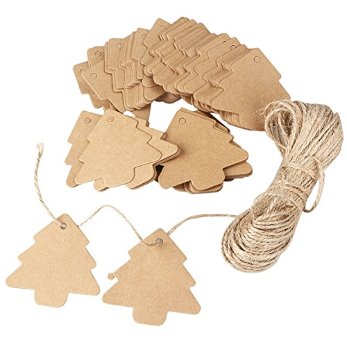 ROSENICE 100pz Kraft carta regalo Tag albero di Natale regalo