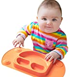 Mini EasyMat® for Highchair and Travel Feeding. Portable Baby Suction Plate & Placemat In One With Lid, Folding Sides & Carry Case. Small Sectional Baby Plate Perfect For Baby Led Weaning Age 6 Month+ by Tots R Us (Orange) - EasyMat - amazon.co.uk