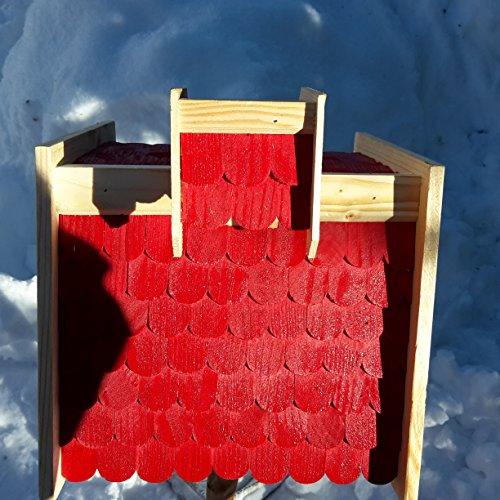 Vogelhaus-XL Rot- Vogelhäuser-Vogelfutterhaus Vogelhäuschen-aus Holz Wetterschutz Putzklappe - 2