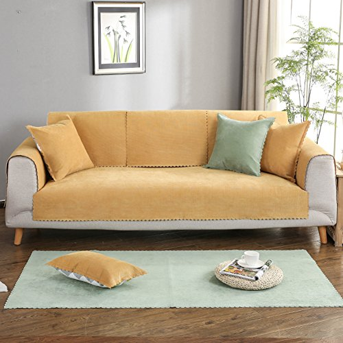 DW&HX Antideslizante Sofá Fundas,Mascota Funda para sofá,Multi-Size Protector para sofás Protector de Muebles para Perro del Animal doméstico y los niños los niños -Amarillo 43x83inch(110x210cm)