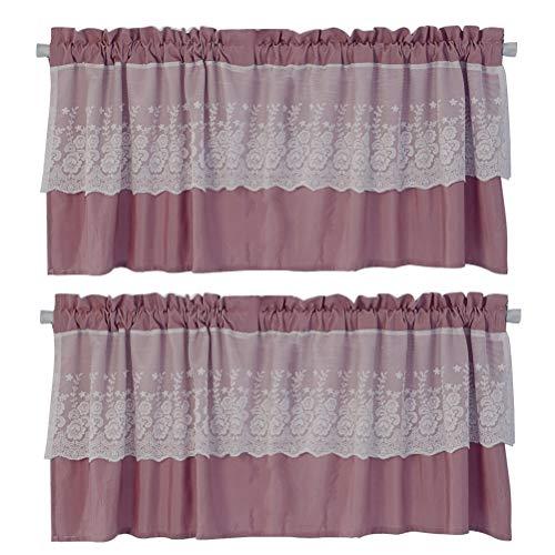 Tendina della finestra con merletto mantovane decorazione per cucina balcone camera parete tende a vela e da bistrot 2 pezzi set,rosa,130cmx41cm/51 * 16