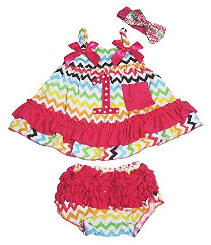 Birthday Dot 1st Rainbow Chevron Swing Top Pink Ruffle Baby Bloomer Nb-24m (12-24 Monat) -