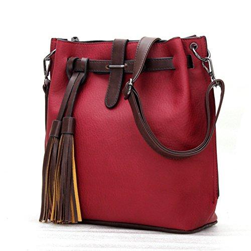 fanhappygo classic Retro Leder Damen Schulterbeutel Umhängetaschen Abendtaschen Messenger Bag Rot