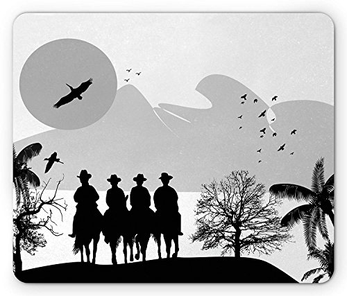 Country Mouse Pad, Silhouette Cowboys on Horses Plane and Palm Tree Pelicans Fly in Nature, Standard Size Rectangle Non-Slip Rubber Mousepad, Black White Pale Grey