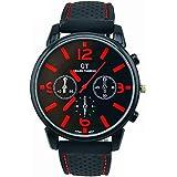 relojes hombre vovotrade 1PC Los hombres del acero inoxidable de la manera del reloj del deporte (rojo)