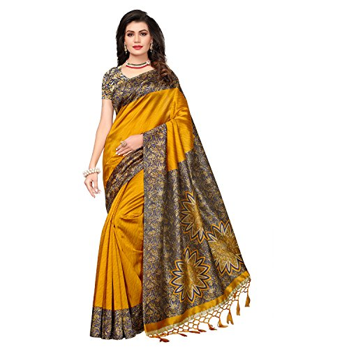 Mrinalika Fashion Women's Art Silk Saree With Blouse Piece (Srja007_Yellow)