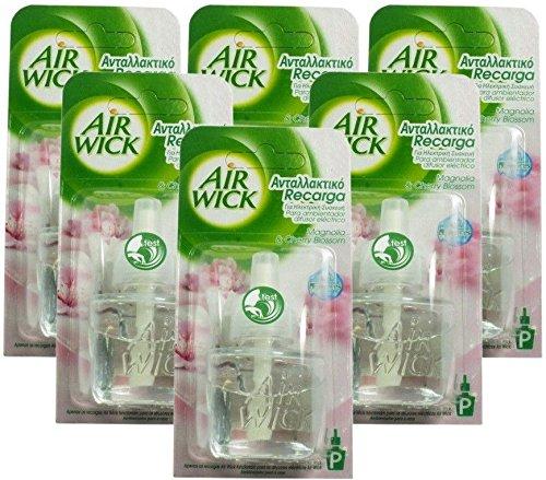 Airwick Lot de 6 recharges pour diffuseurs électriques Parfum fleurs de magnolia et cerisier 19 ml