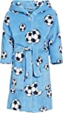 Playshoes Jungen Bademantel Fleece Fußball, Blau (original), 134 (134/140)