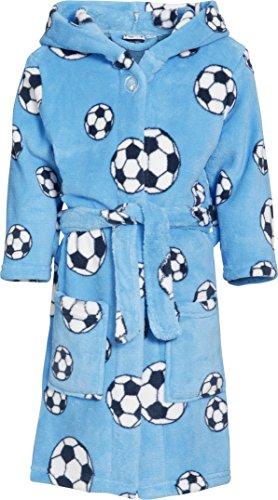 Preisvergleich Produktbild Playshoes Jungen Bademantel Kuschelweicher Fleece-Bademantel, Morgenmantel Fußball, Oeko-Tex 100, Gr. 98 (Herstellergröße: 98/104), Blau (original)