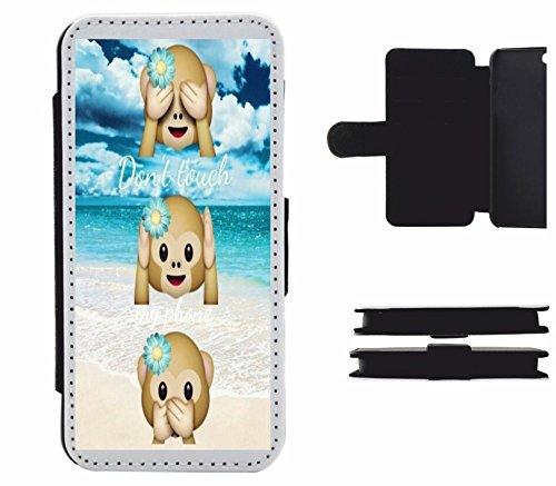Druckerlebnis24 Leder Flip Case Apple iPhone 4/ 4S Dont Touch My Phone DREI Affen mit Urlaubs Summer, der wohl schönste Smartphone Schutz Aller Zeiten. (4s Affe Iphone)