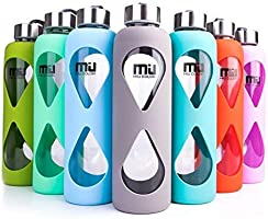 MIU COLOR 550ml Bouteille d'eau en Verre - Housse Antidérapante en Silicone avec Verre Borosilicate Écologique sans BPA, PVC, Plastique et Plomb