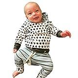 Ensemble de vêtements à Manches Longues, Internet Bébé Fille Sweatshirt à Capuche Léopard + Pantalons (6-12 Mois, Bleu)