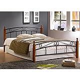 Lit Design en metal noir avec pieds de lit en bois malaisiens marron, 180 x 200 cm -PEGANE-