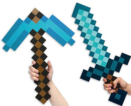 Minecraft Set Schwert & Spitzhacke Diamond Edition aus EVA Schaumstoff zum Handy-Kultspiel