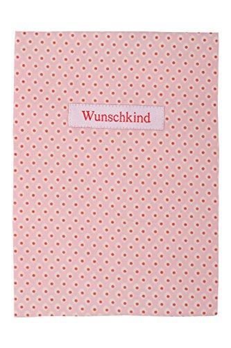 Baumwoll Mutterpass-Hülle rosa mit Wunschkind Aufnäher