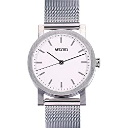 MEDOTA Stainless Steel Waterproof Watch Minimalist Umbra Series Swiss Watch Quartz Womens Watch - No. 21301 (White)