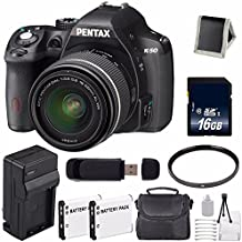 Pentax K-50 DSLR Camera With 18-55mm Lens (Black) + Replacement Lithium Ion Battery + External Rapid Charger + 16GB SDHC Class 10 Memory Card + Deluxe Starter Kit 6AVE Bundle