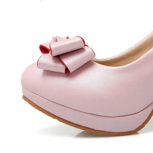 AgooLar Femme Pu Cuir Couleur Unie Tire Rond à Talon Haut Chaussures Légeres Rose