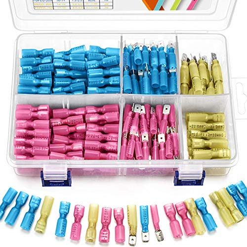 Wildone 320-tlg. Wärmeschrumpf-Flachstecker, Buchsen- und Stiftklemmen, isoliert, Schnelltrenn-Kabelverbinder, Steckverbindersatz