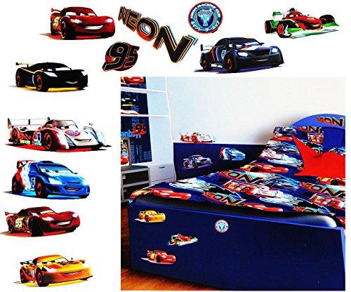 11 Stück: XL Wandsticker -  Disney Cars / Lightning Mc Queen  - selbstklebend + wiederverwendbar - Aufkleber für Kinderzimmer - Wandtattoo / Sticker Kinder .. ()