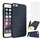 iPhone 6 Plus/6S Plus Cases With Card Holder&KickStand Brushed Texture Dual Material Hybrid