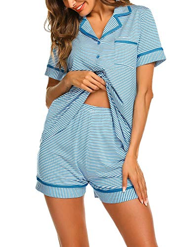 Seide Damen Kurzarm-schlafanzug (MAXMODA Damen Schlafanzug Kurzarm Baumwolle Shorty Hose 2tlg Gestreift Pyjama Set Tops Nachtwäsche Shirt Shorts Sommer Nachthemd)