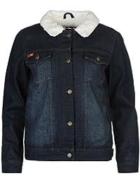 Lee Cooper Damen Denim Jacke Warm Jeansjacke Fleece Gefuettert Brusttaschen
