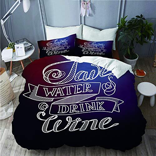 PENGTU Bettwäsche-Set, Mikrofaser,Typografische Zusammenfassung mit humorvollem Zitat-Abwehr-Wasser-Getränk-Wein auf verwischt,1 Bettbezug 200 x 200cm+ 2 Kopfkissenbezug 80x80cm - Zwei-ton-wein