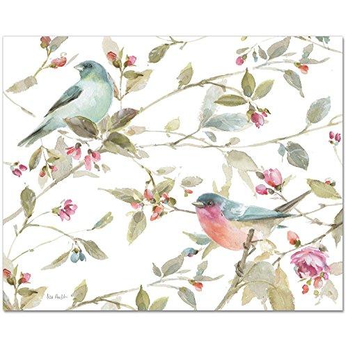 CounterArt Glas-Schneidebrett, Motiv Vögel und Rosen, 38,1 x 30,5 cm