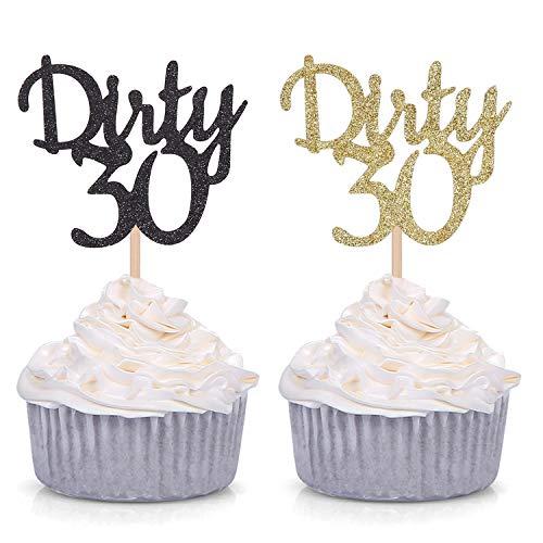 24 Stück Gold und Schwarz Glitzer Dirty 30 Cupcake Topper Party-Dekorationen Supplies