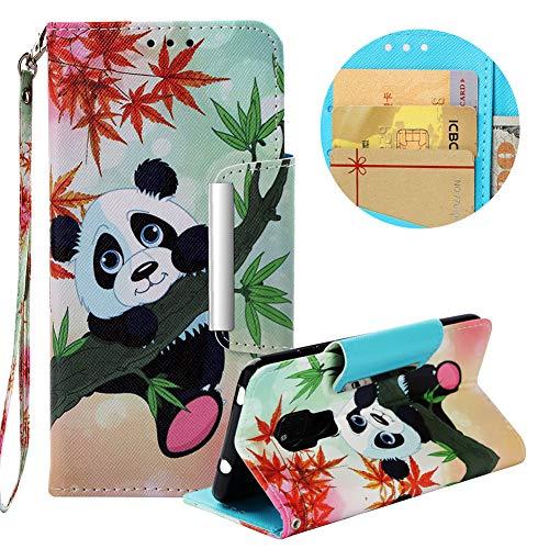 Brieftasche Hülle für Huawei Mate 20,Gürtel Lederhülle für Huawei Mate 20,Moiky Stilvoll Ahornblatt Panda Prägung Malerei Geprägt Kratzfest Magnetverschluss Stand Kartenfächer Handyhülle