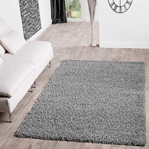 T&T Design Alfombra Shaggy Pelo Largo Moderna Lisa Monocolor En Gris Precio Inmejorable, Größe:200x280...