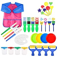 YZNlife 30 Pcs Kids Painting Brushes Sponge Drawing Set with Paint Bowls, Sponge Foam Brushes and Waterproof Apron for Children Doodle, Sharing Paints,Early Learning DIY Art Craft