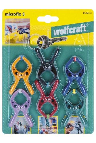 Wolfcraft 3420000 - Microfix s - mini-pinzas con resorte, 6 unidades, con 1x anillo llavero 20 mm