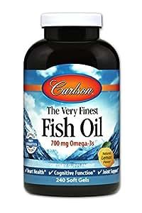 Carlson Labs Very Finest Fish Oil, Lemon, 700mg, 240 Softgels